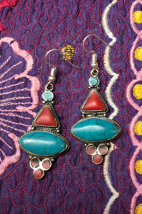 Earrings Paloma Inlays in Faux Turquoise and Coral Colour