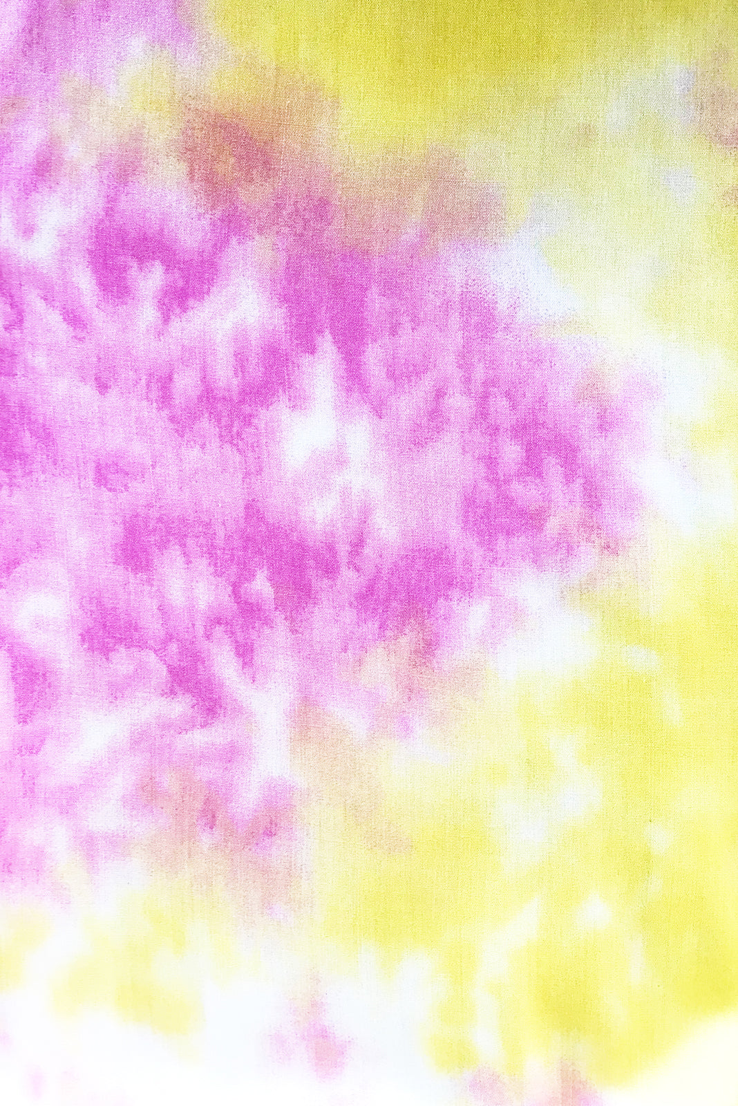 Fabric Swatch of Ace Gelati Tie Dye Dress featuring  100% rayon in pink and yellow tie dye.