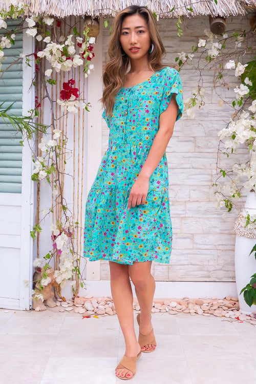 Airlie Teal Daisy Confetti Mini Dress