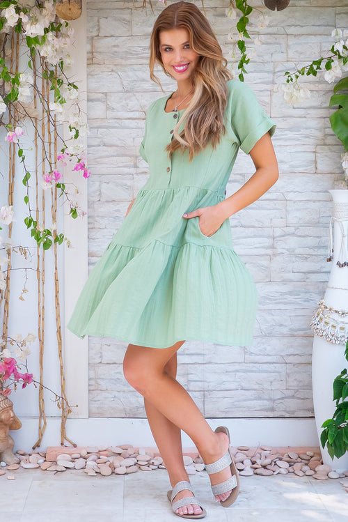 Airlie Sage Green Mini Dress