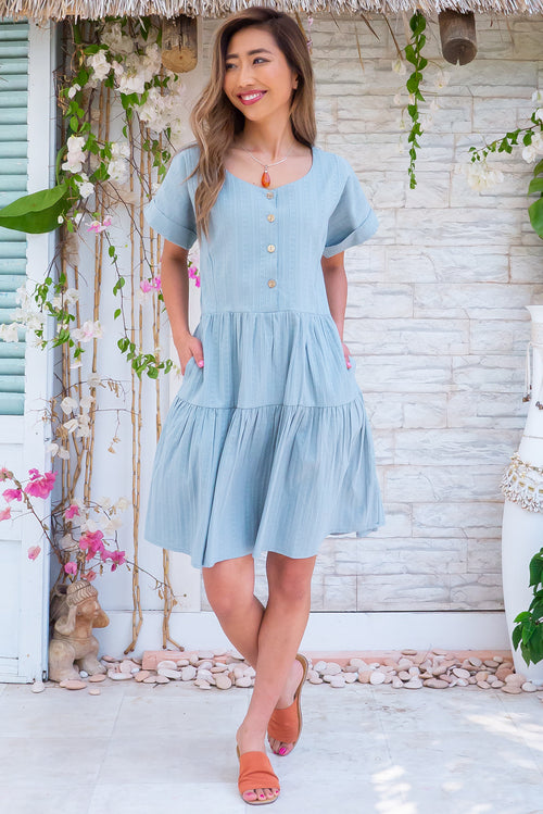 Airlie Slate Blue Mini Dress