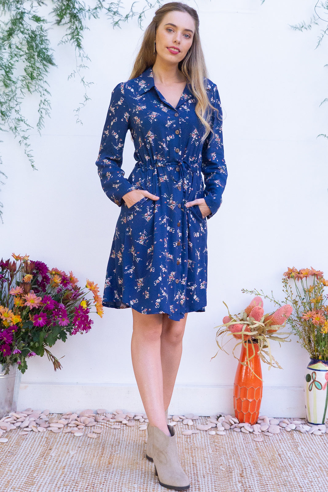 bbdf55449aa Alexandra Navy Skye Shirt Dress  Women s Vintage Floral Blue Day ...