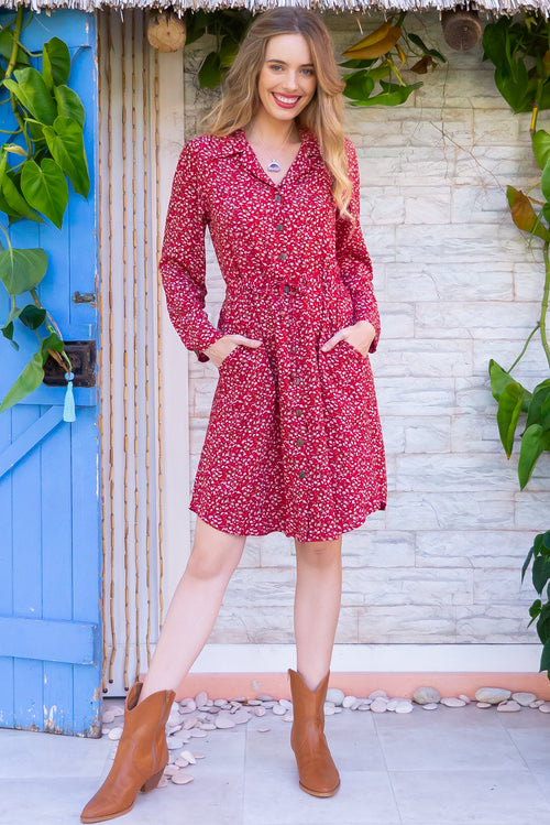 Alexandra Redcurrant Shirt Dress