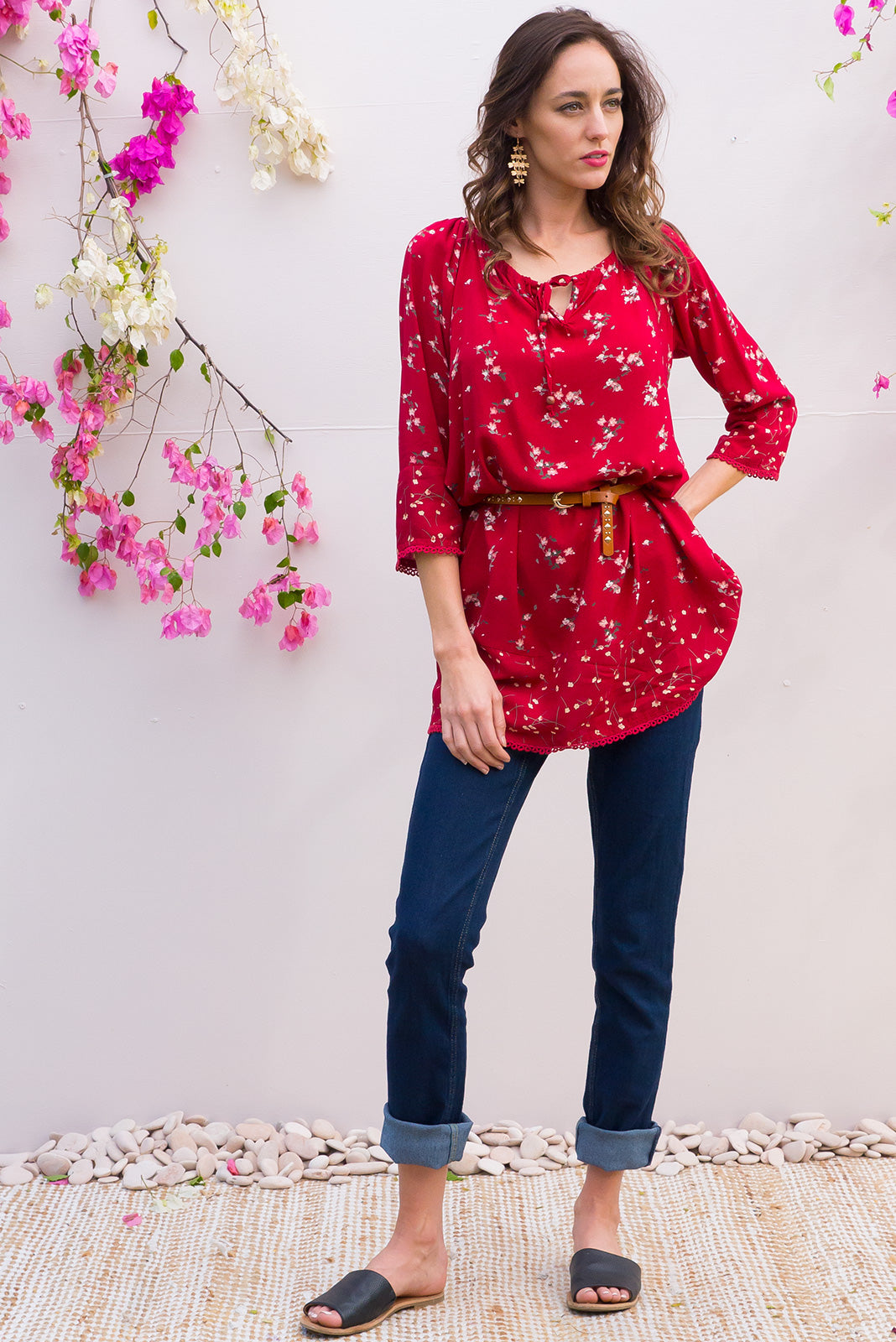 Angie Dee Berry Red Tunic Dress with a elastic drawstring neckline and midi sleeve with cotton lace trim on the sleeve and hem in a delicate red floral print on smooth soft rayon