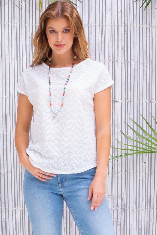Anglaise Top Feather Embroidery