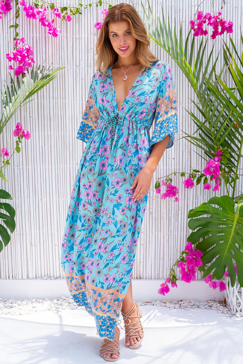 Annabella Brilliant Blue Caftan Maxi Dress