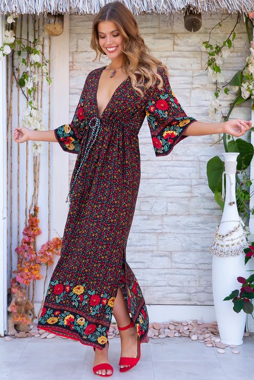 Annabella Folklore Black Caftan Maxi Dress