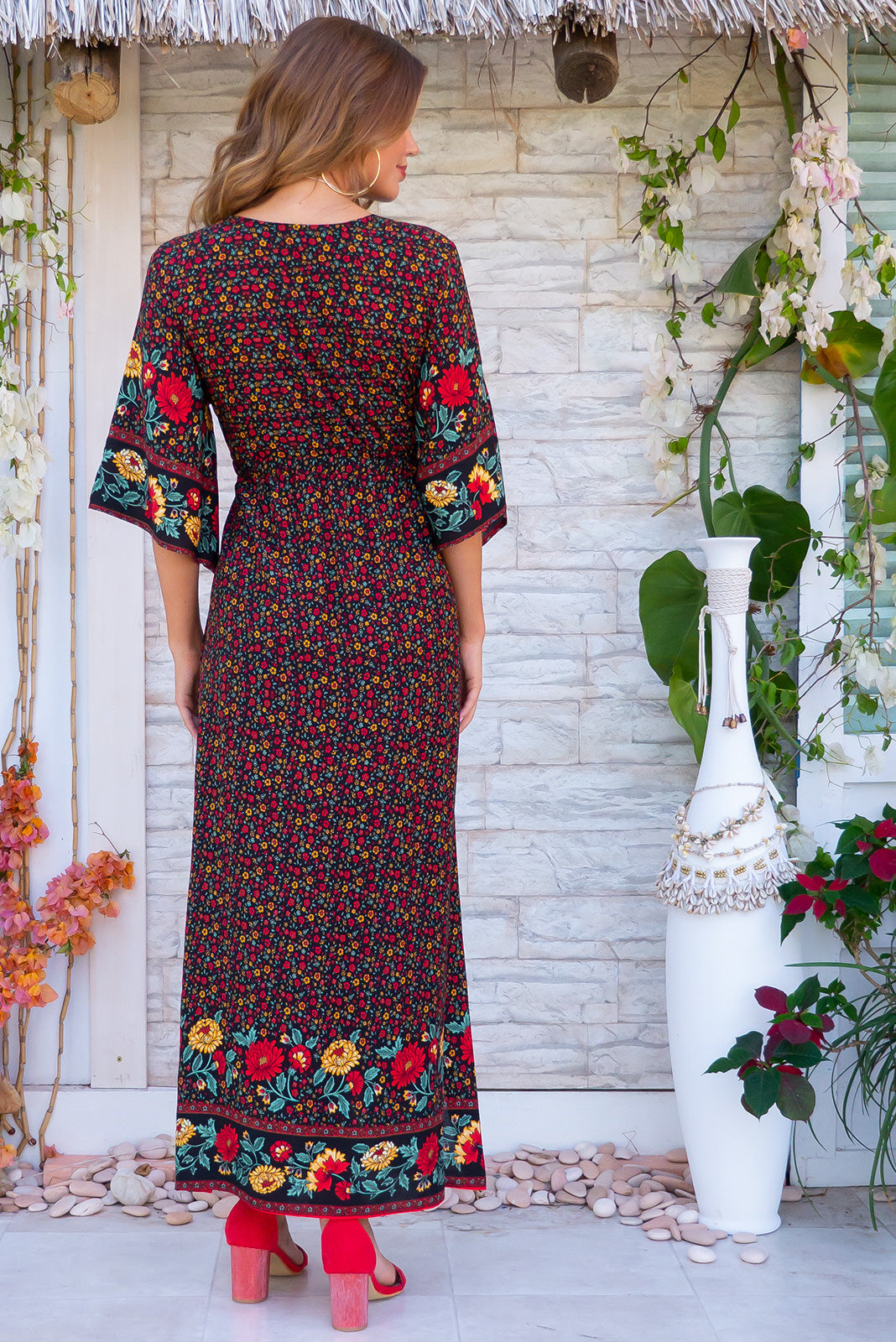 Annabella Folklore Black Caftan Maxi Dress bohemian inspired floral print summer dress with plunging neckline, side pockets and a border print.