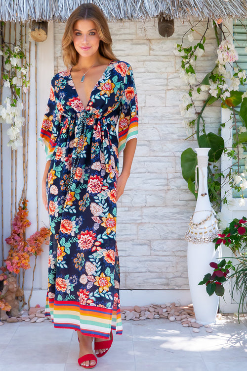Annabella Roselina Navy Caftan Maxi Dress
