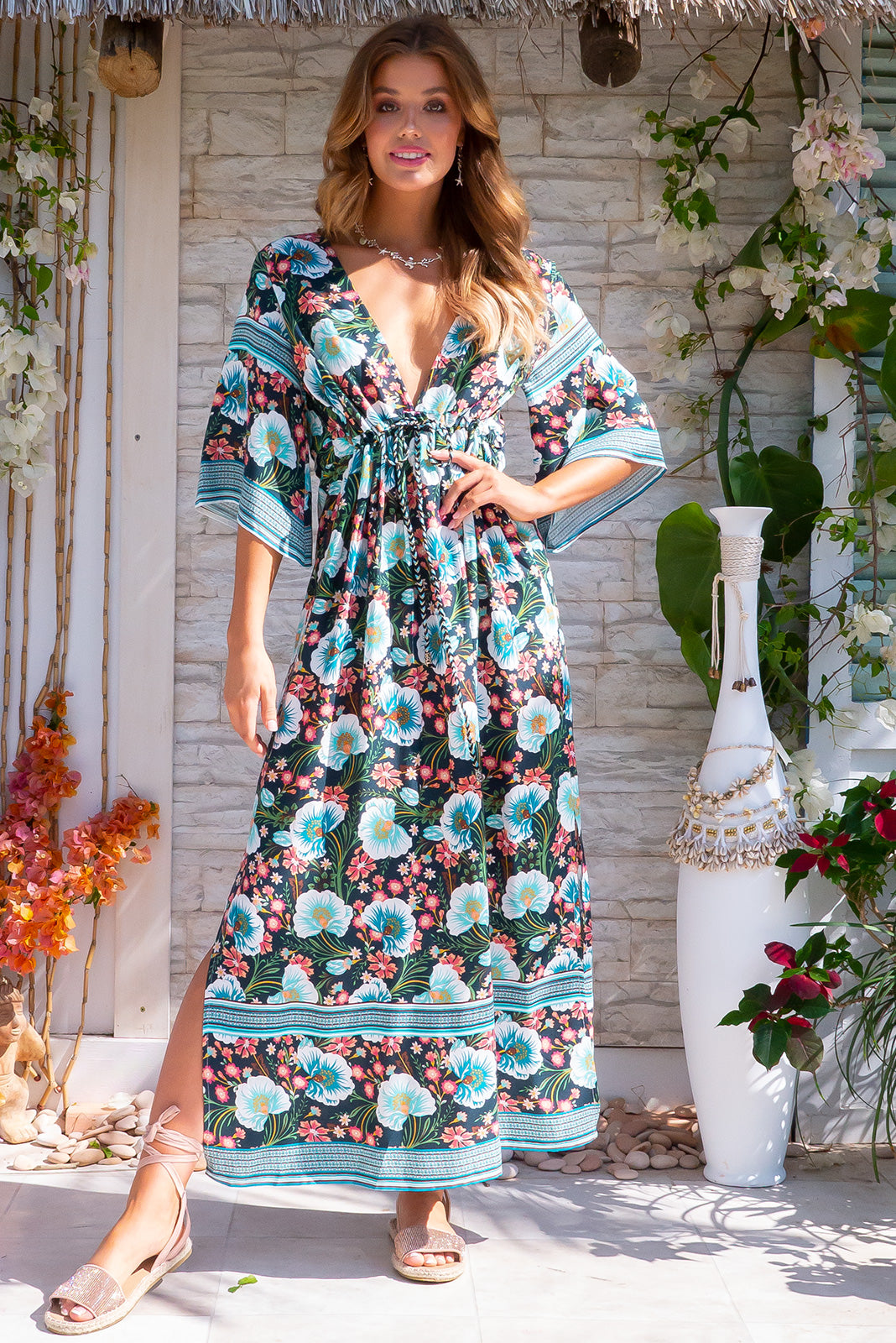 Annabella Temptation Teal Caftan Maxi Dress Floral Print Holiday Bohemian Inspire Rayon  Dress with Pockets and Plunge Neckline.