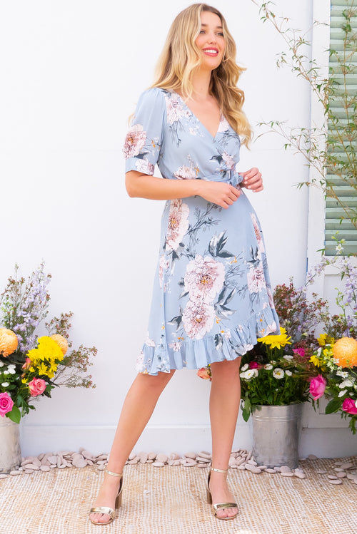 Antigua Powder Blue Wrap Dress