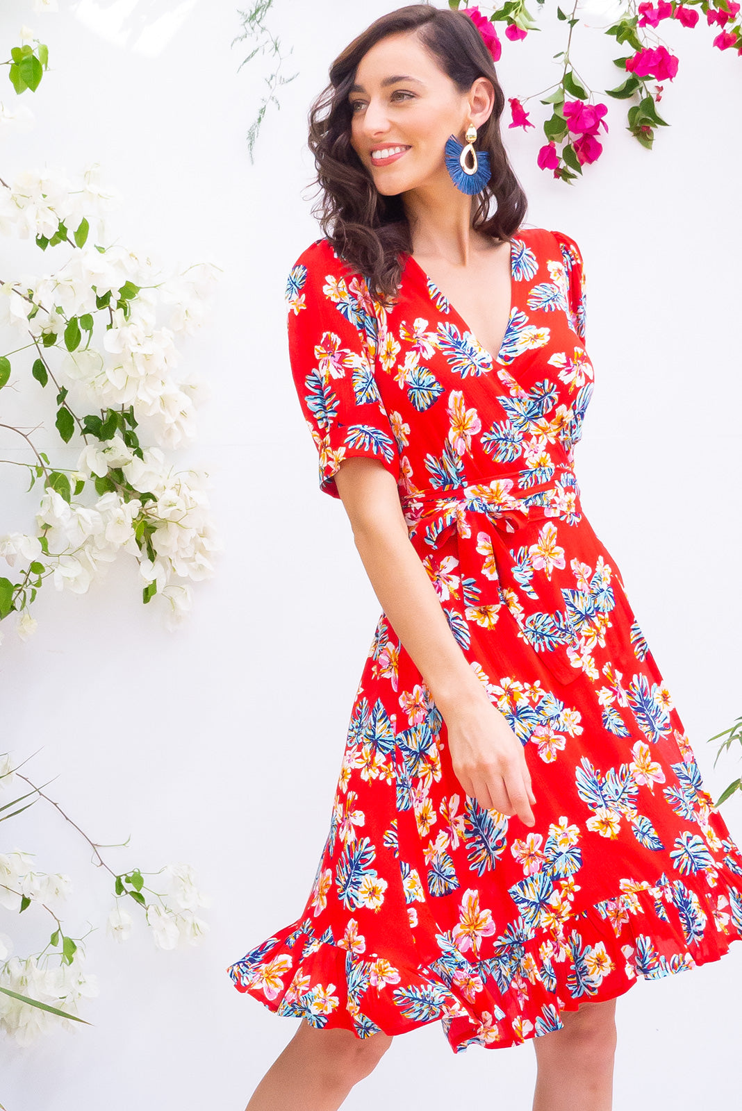 Antigua Red Spirit Maxi Wrap Dress in a 1940's inspired style with cuffed midi sleeves and a delicate hemline frill in a bright red print on crinkle woven rayon