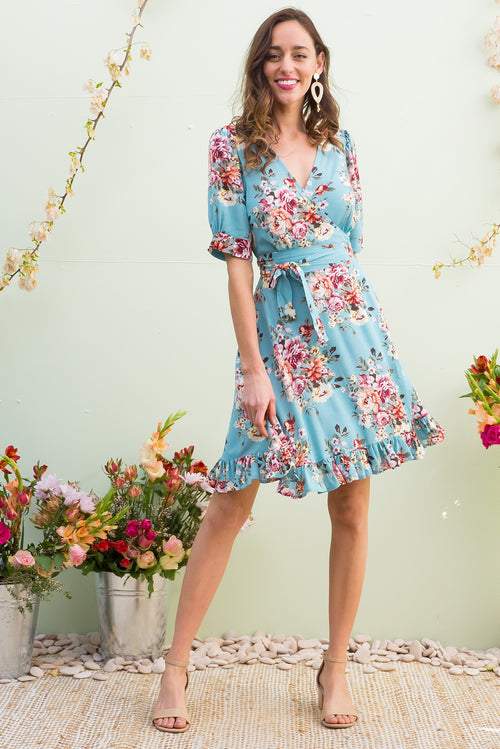 Antigua Summerhouse Blue Wrap Dress