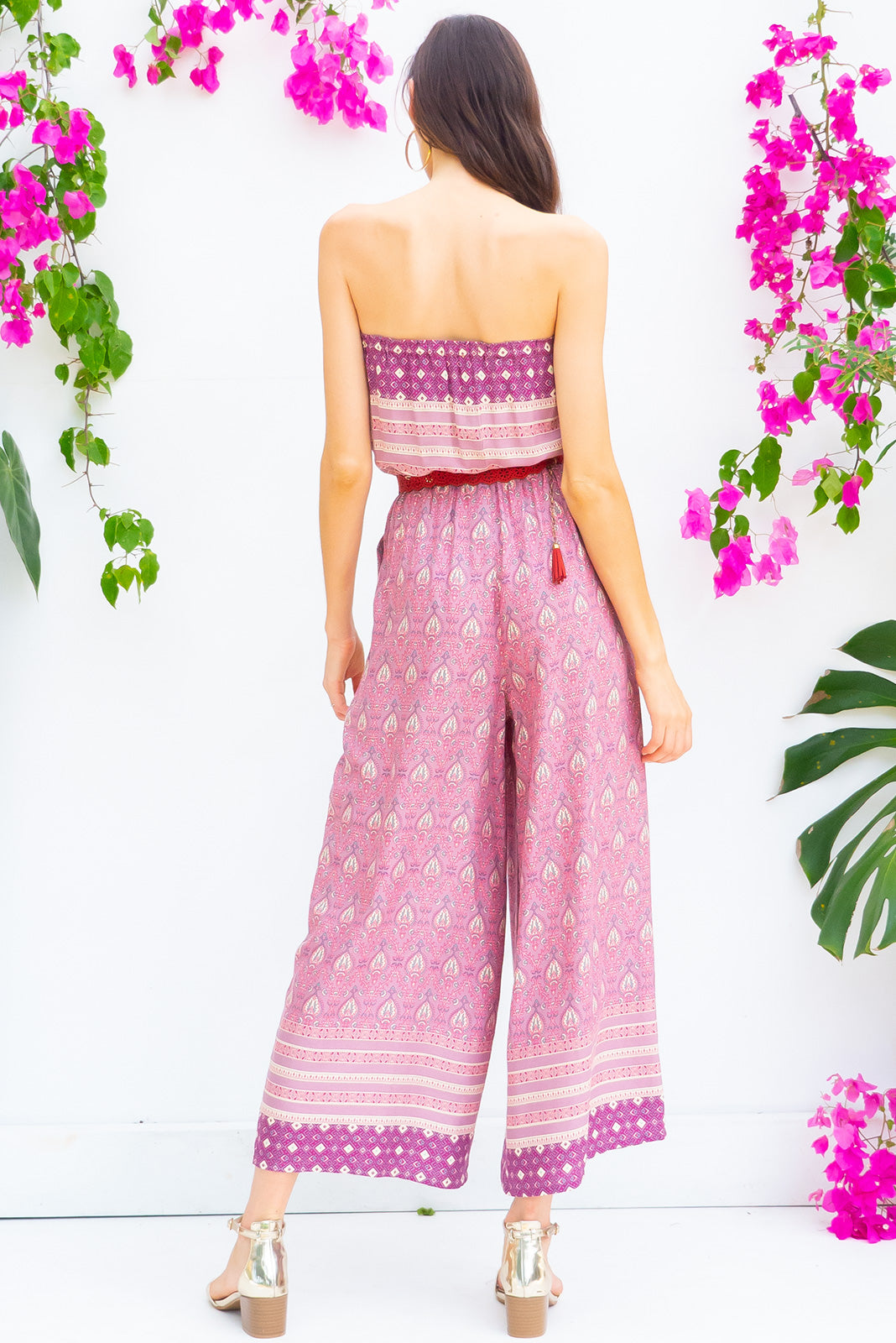 Appleby Amethyst Jumpsuit Strapless full length boho inspired jumpsuit with pockets in a purple toned intricate bohemian border print