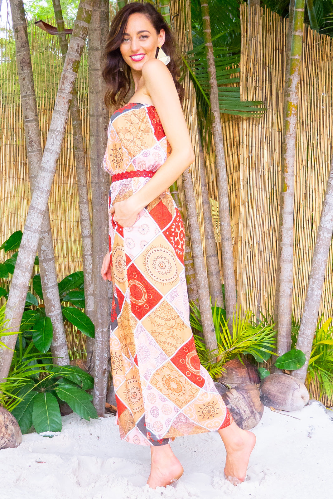Appleby Terracotta Jumpsuit Strapless full length boho inspired jumpsuit with pockets in a warm toned intricate bohemian patchwork print