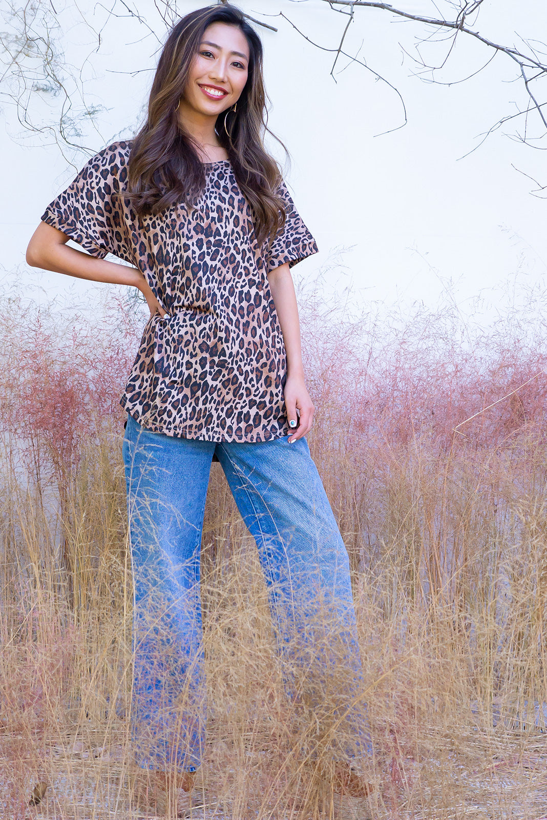 Artemis Animale Tee is a classic oversized leopard print T-shirt. Standard cut, curved at hem, Flattering on ultra soft touch 95% polyester and 5% spandex. Can be worn tied up, loose or tucked in. Chic, cool, sophisticated, timeless.