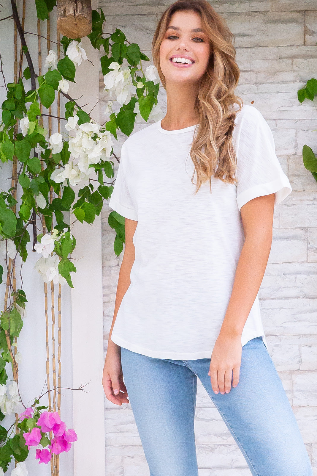 Artemis Tee Pearl White is a classic white T-shirt featuring oversized fit, standard cut, curved at hem, ultra soft & comfortable 60% cotton, 40% polyester material.