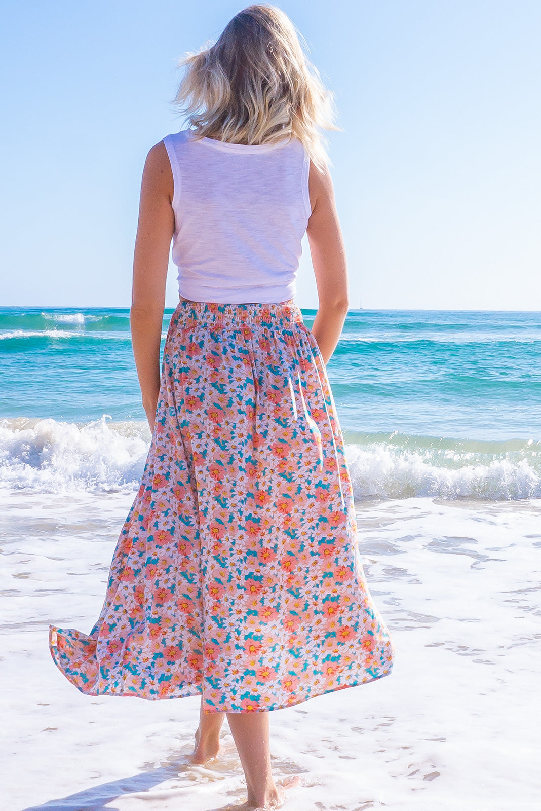 Atlantis Peach Blossom Maxi Skirt
