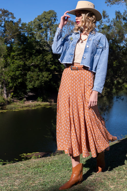 Avalon Terracotta Midi Skirt