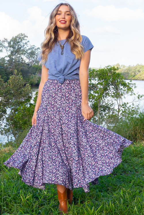 Avalon Alchemy Navy Midi Skirt