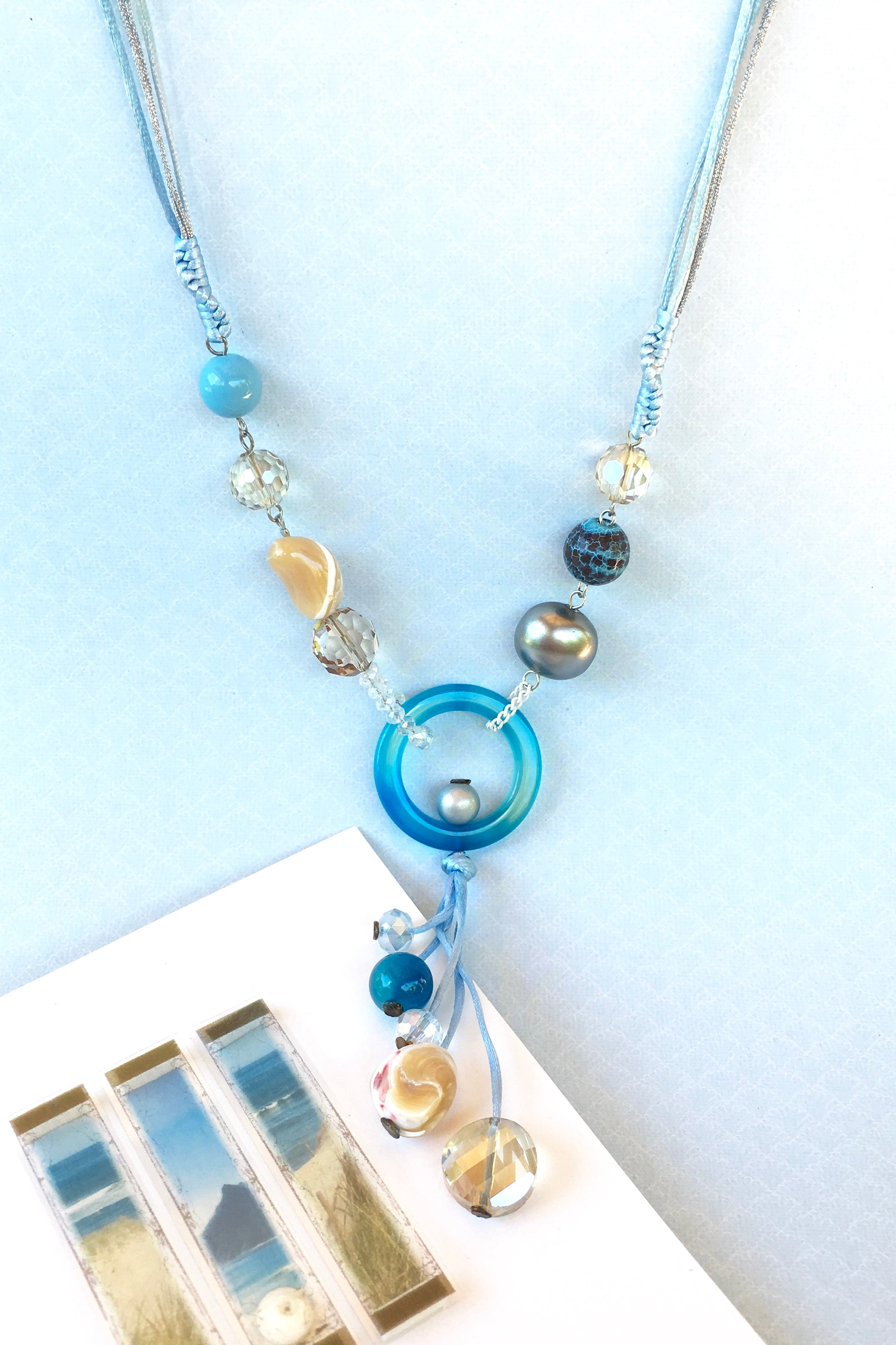 Necklace Greco Turquoise with crystalline beads on a silk cord