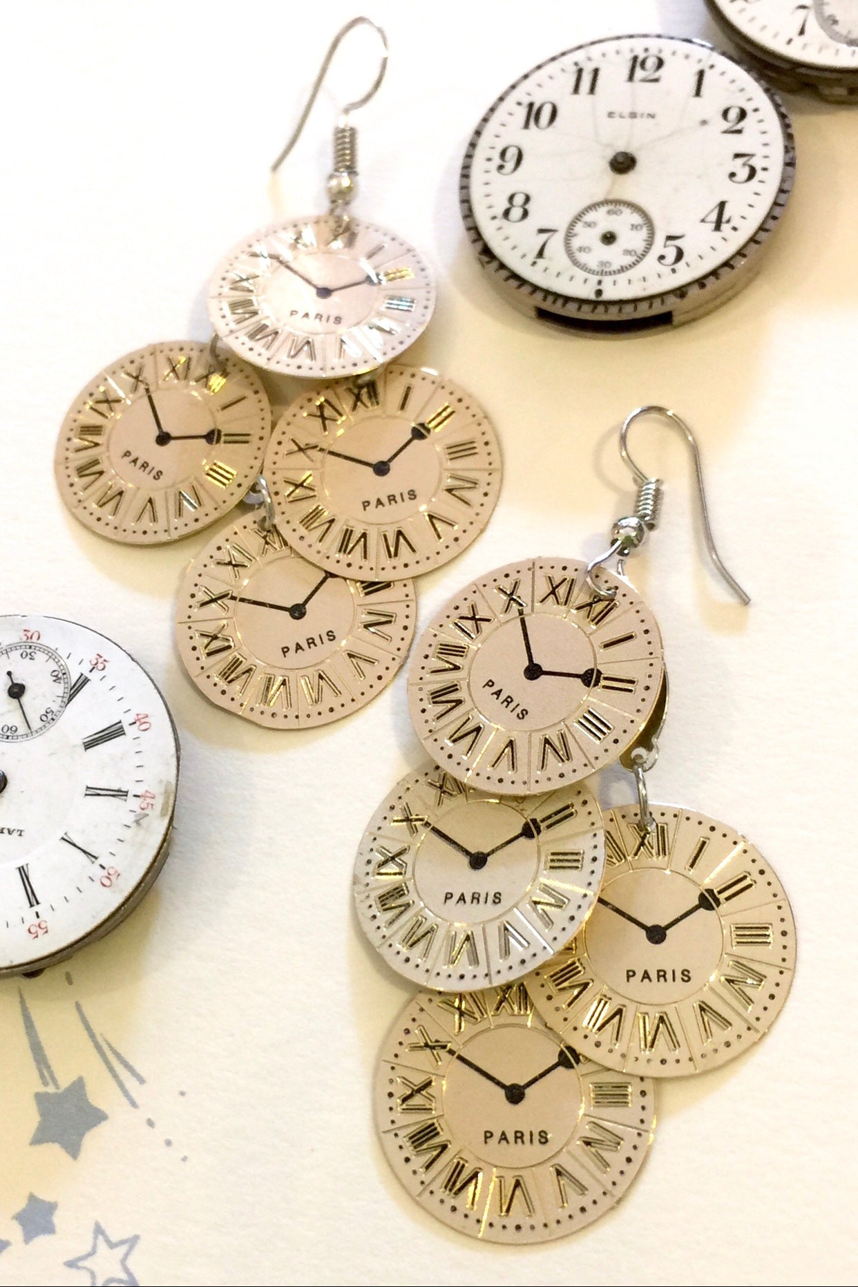 Earrings Times Up, Retro Watch Face Style earrings very lightweight