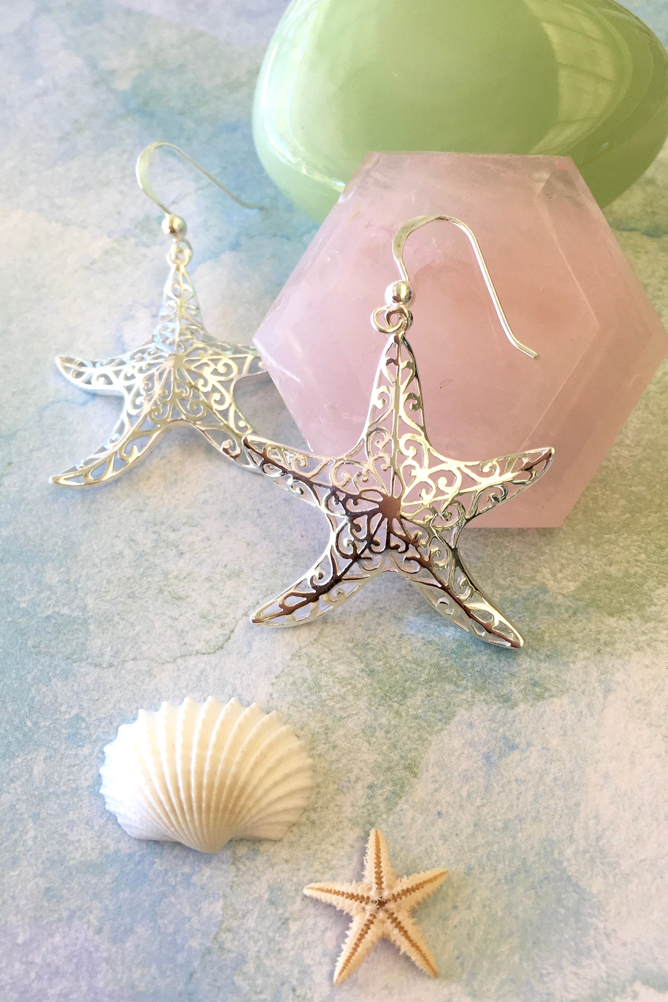 Earrings Cay Star Fish in 925 Silver, earrings in the shape of a silver starfish
