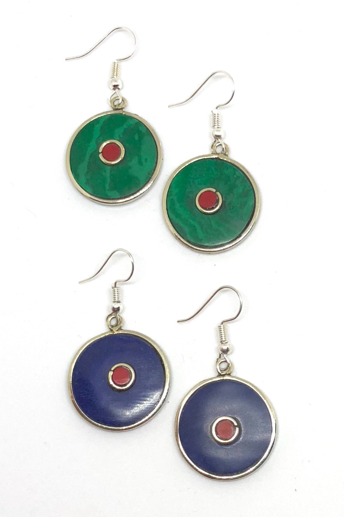 Earrings Paloma Circle in malachite green Colour, lapis blue indian style hippie earrings