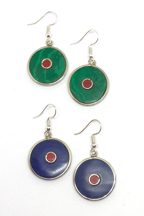 Earrings Paloma Circle in Green or Blue Colour