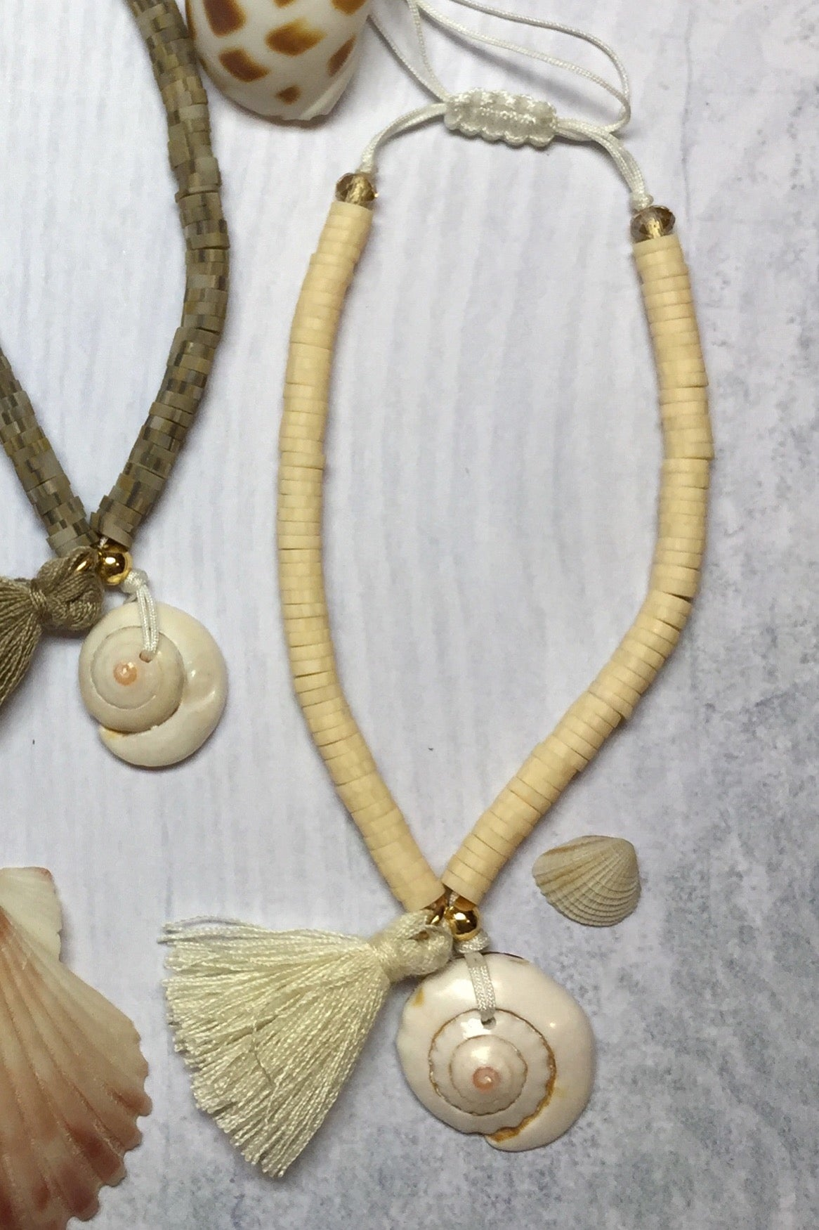 Beach Bracelet with Shell Detail in Natural or Beige