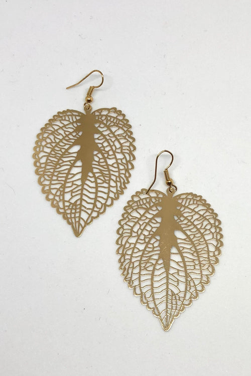 Earrings Flutter Love Leaf Gold tone