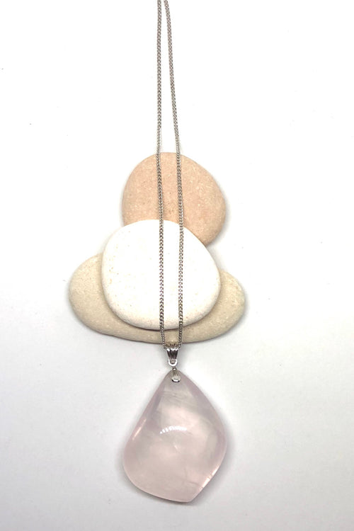 Pendant of Rose Quartz on a Silver Chain 1
