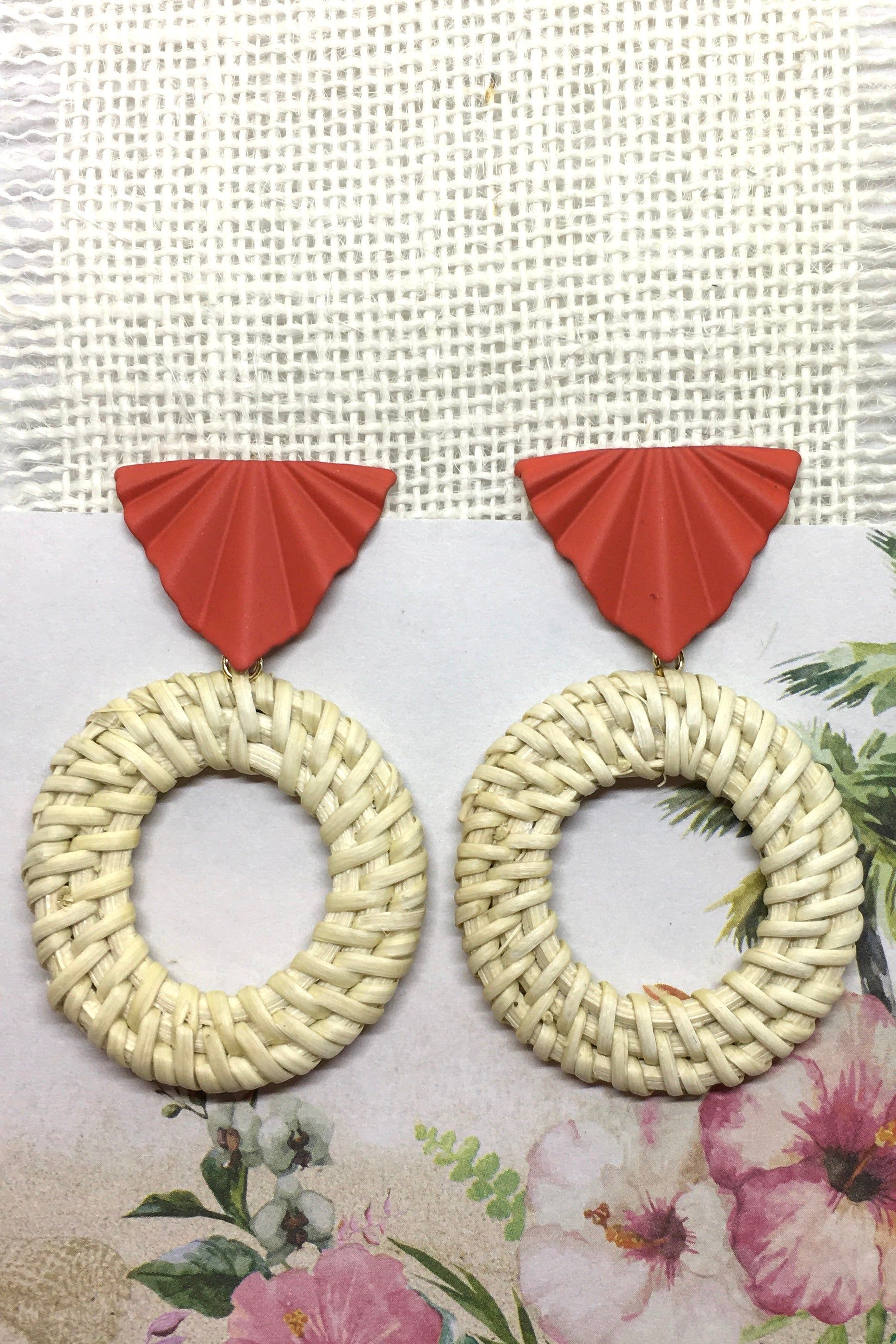 Earrings Rattan Circle with Orange Detail