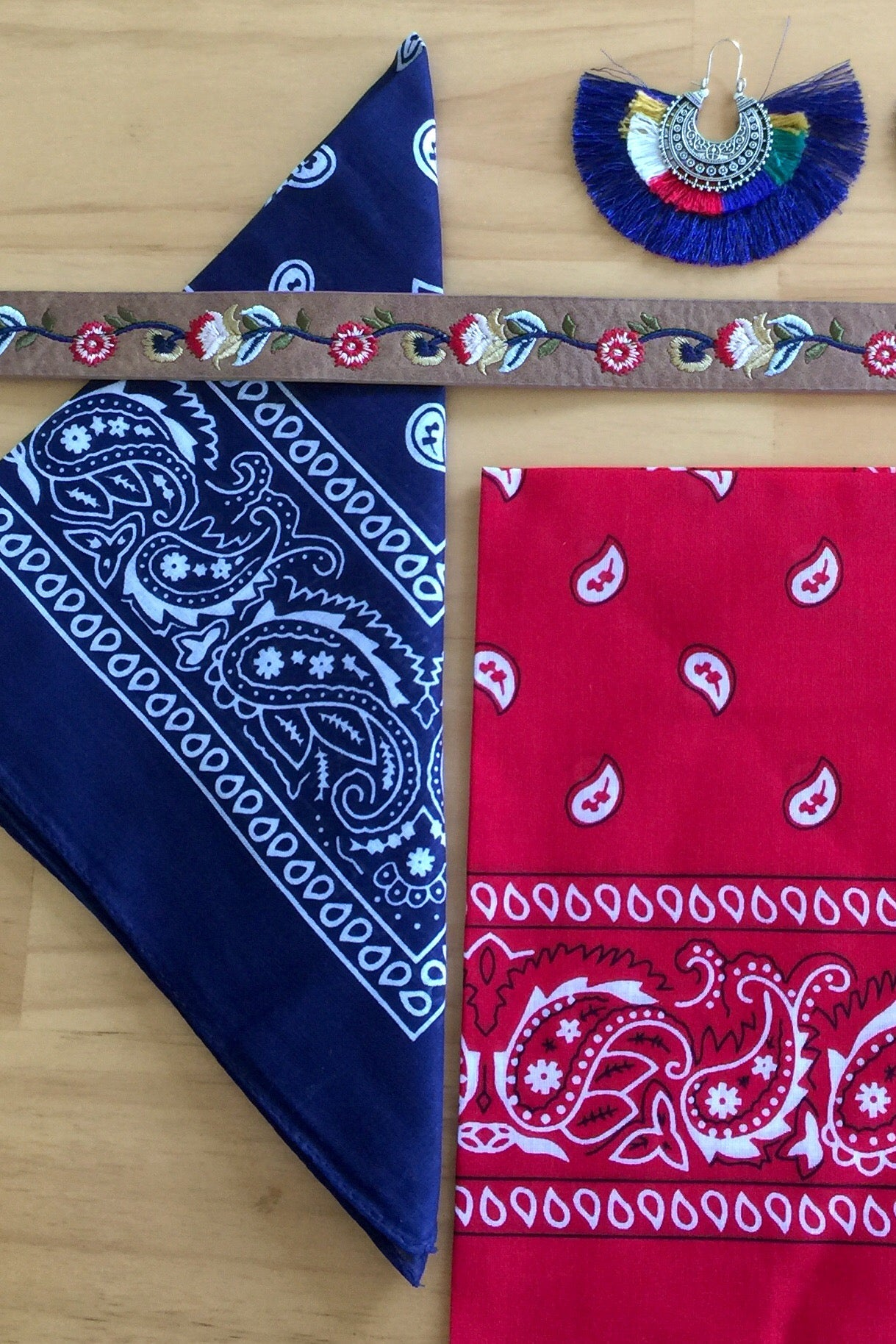 Bandana Moto in Red or Navy, hippie headnand, route 66 style, hippie style bandanna
