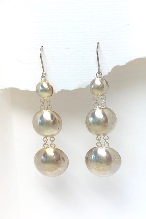 Silver Three Dome Earrings