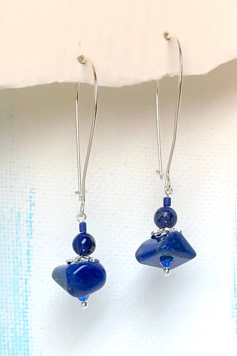 The Serendipity Earrings Lapis Loops are handmade in Noosa, Australia featuring Natural Lapis Lazuli and 925 Silver hook.