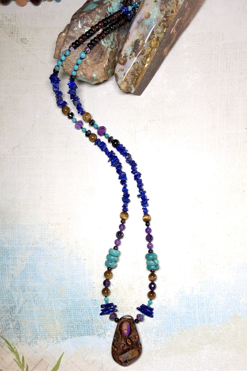 Necklace Cay Opal Dreaming with Natural Gemstones and Australian Opal Centrepiece