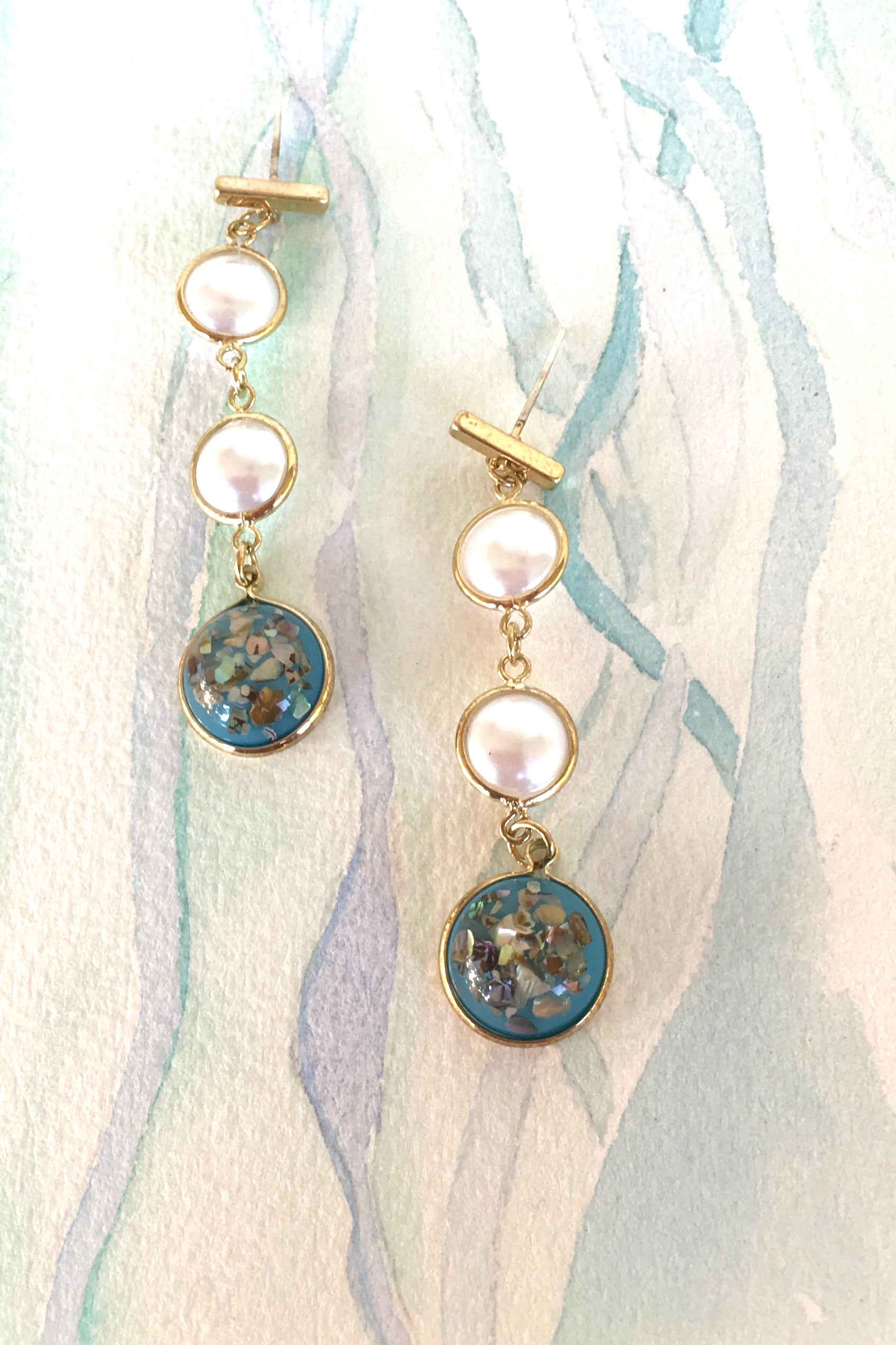 Earrings Opalescent Three