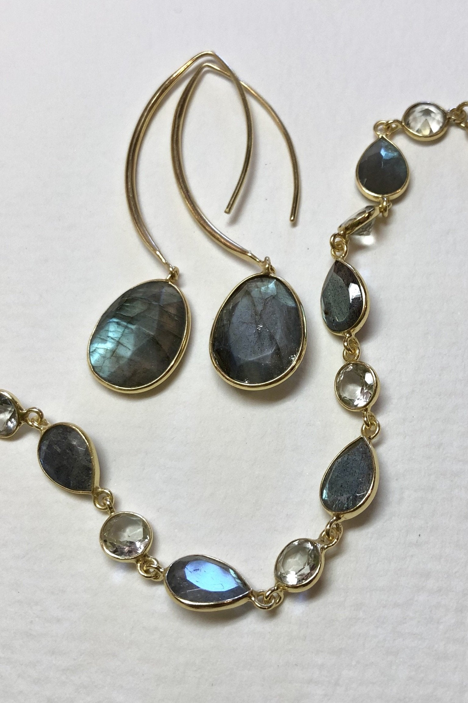 Oracle Earrings Golden Swoosh Labradorite or Moonstone are the gold vermeil statement drop earrings