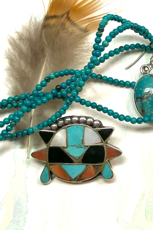 Echo Brooch Zuni Silver and Turquoise Inlay