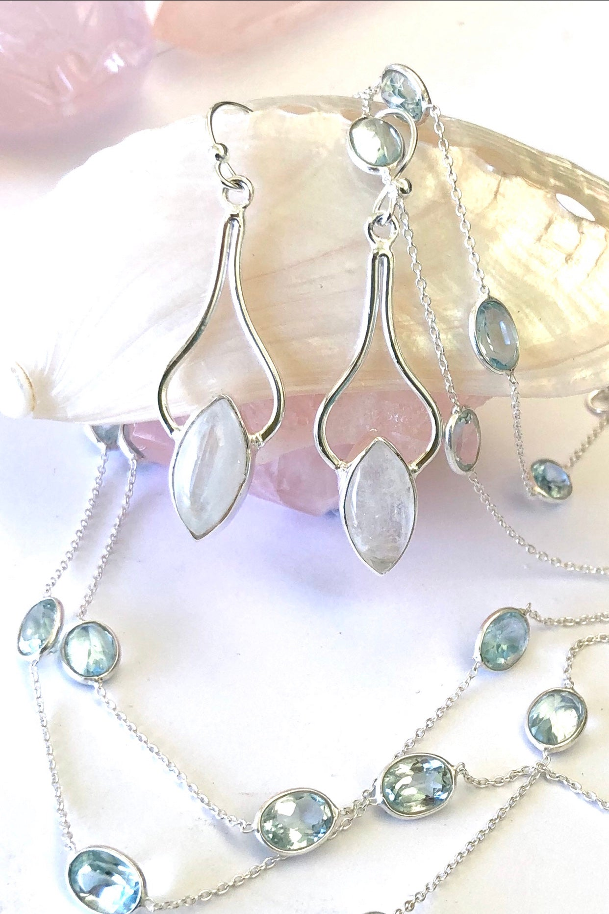 gemstone in a silver earring
