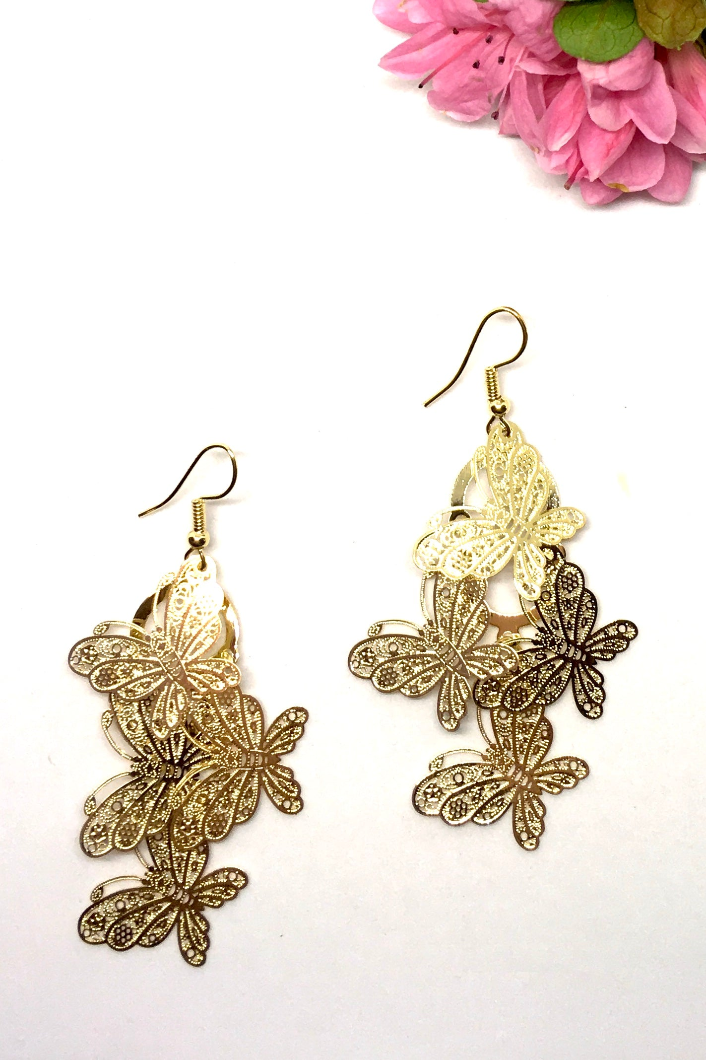 Earrings Fluttery Butterfly Drop gold, lightweight butterfly earring