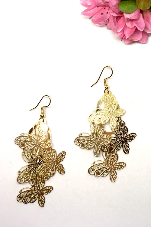 Earrings Fluttery Butterfly Drop gold tone