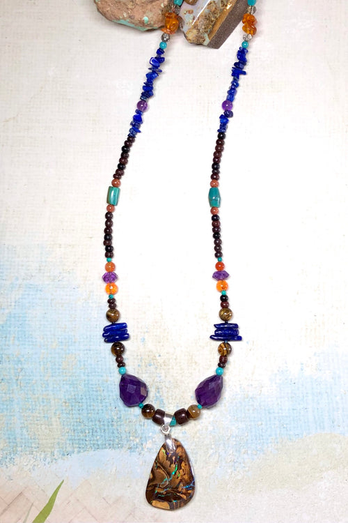 Necklace Cay Opal and Amethyst with Natural Gemstones and Australian Opal Centrepiece