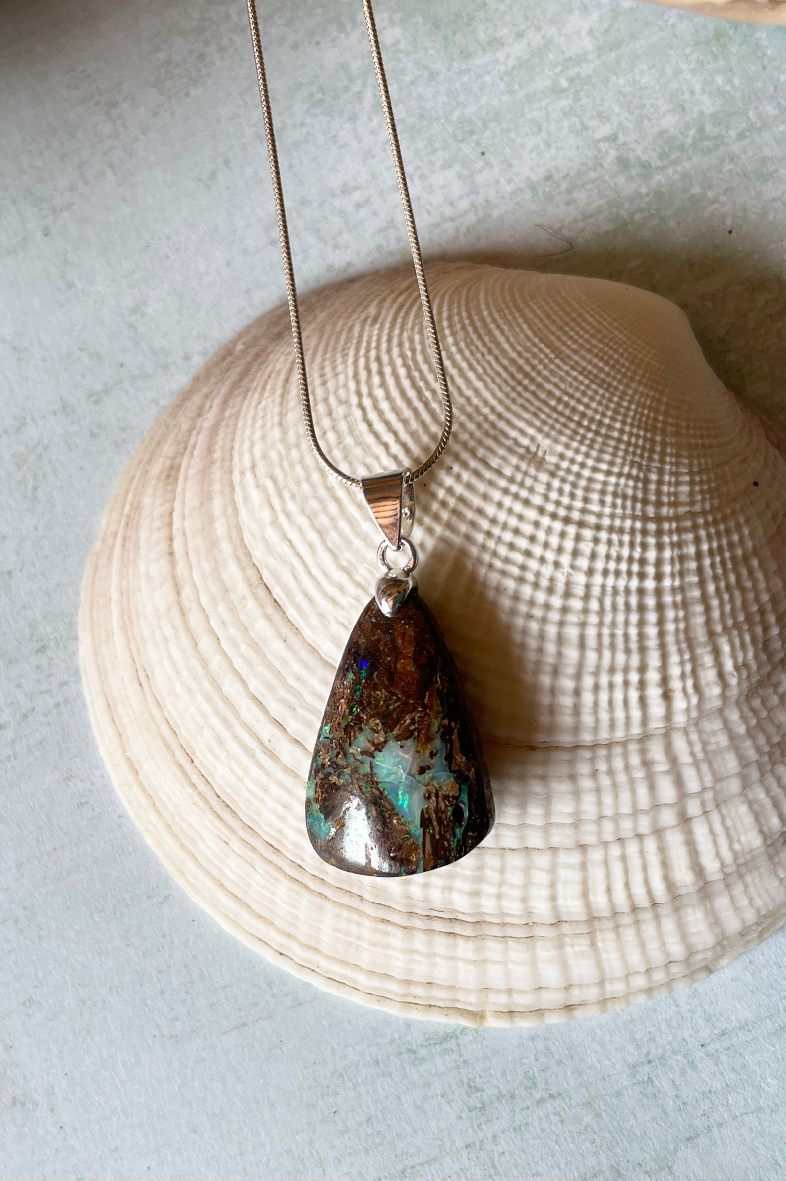 Australian opal pendant on a chain, boulder opal. Mens jewellery, Australian made.