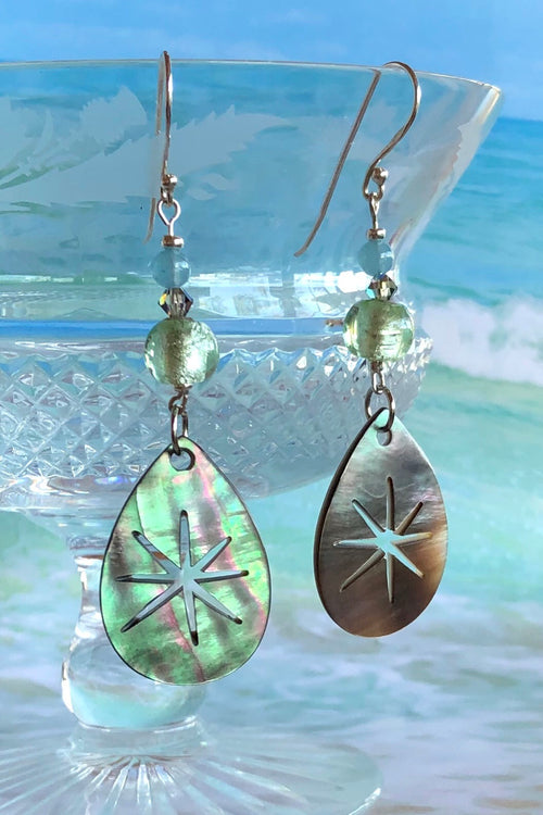 Earrings Serendipity Starburst Silvery Grey Shell