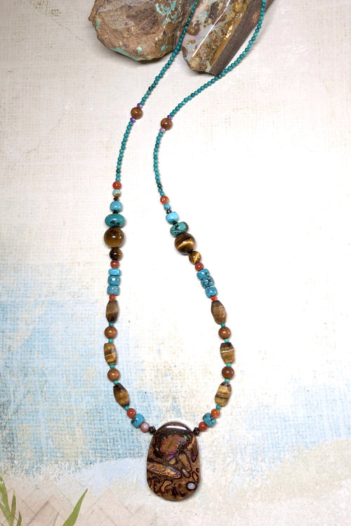 Necklace Cay Opal Afri Aus with Natural Gemstones and Australian Opal Centre Piece