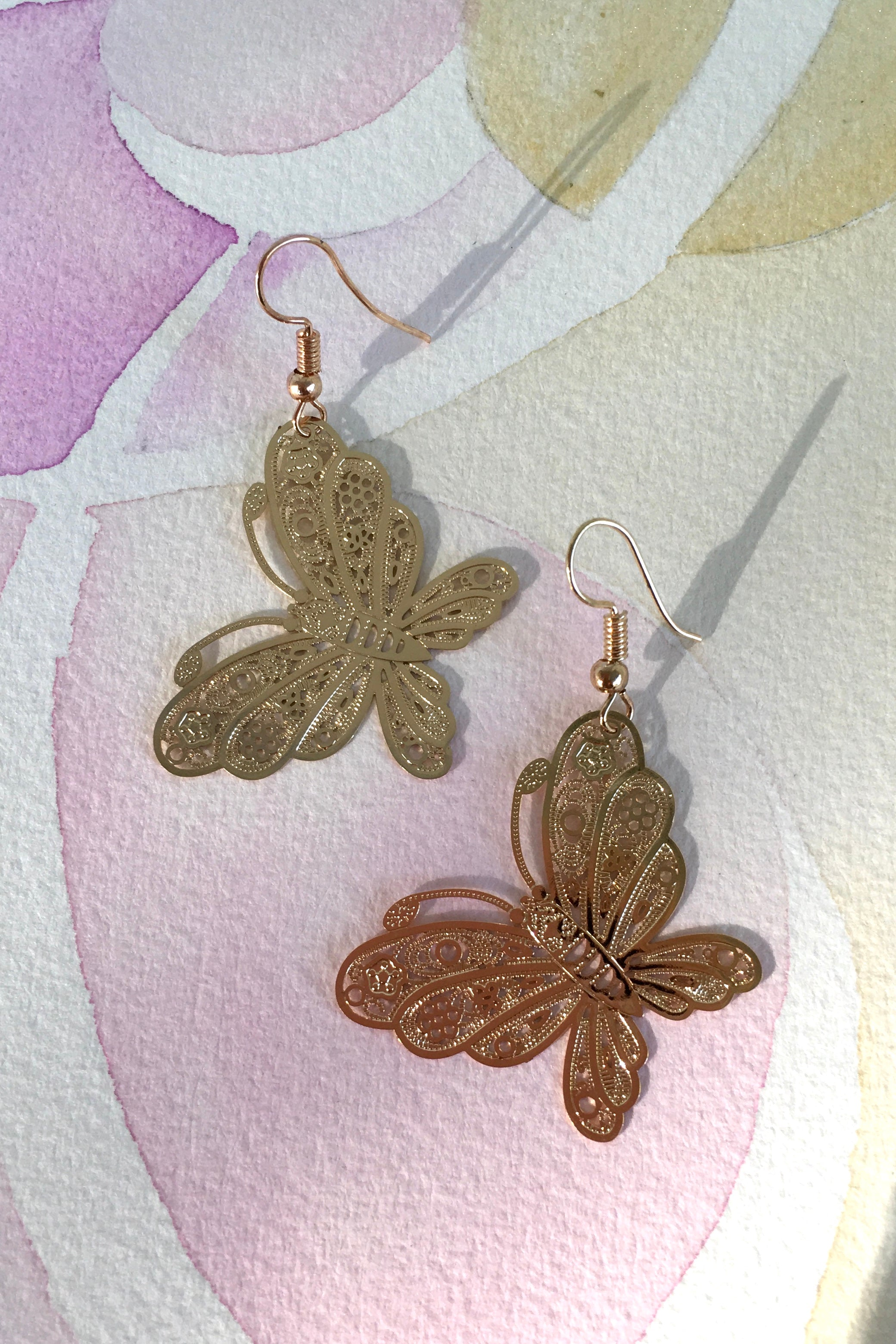Earrings Flutter Butterfly Golden One