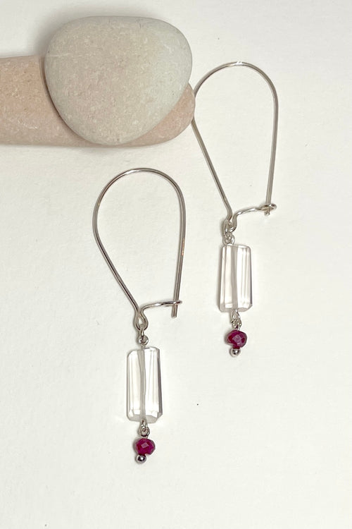 Earring Samara Gemdrop Rose Quartz and Ruby