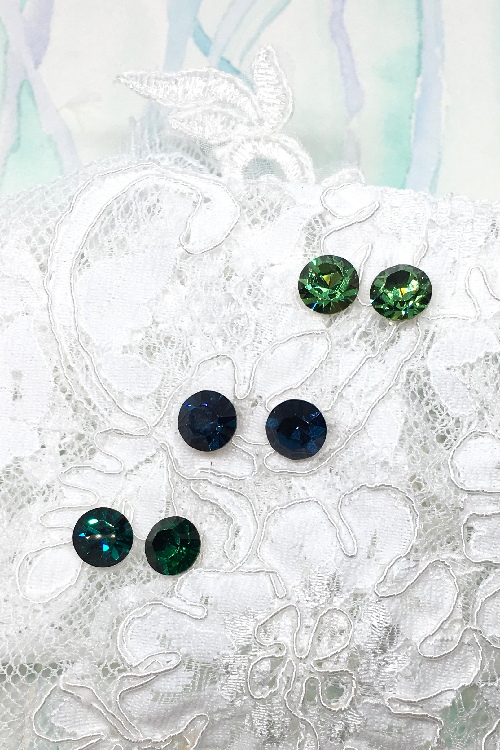 Earrings Crystal Stud in Peridot Green, Montana Blue or Emerald Green.